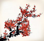 chinese ink paint of wintersweet old paint poster
