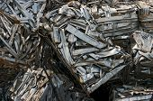 Stack of recycling bales of metal strips poster