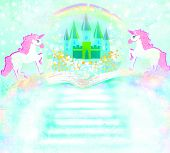 Magic book of fantasy stories and castle and two unicorns , raster poster