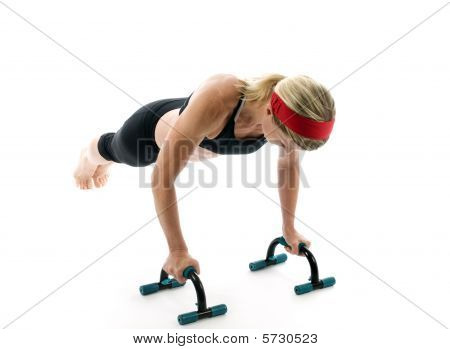 poster of attractive middle age female fitness trainer exercising with fitness push up bars