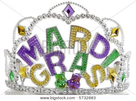 A colorful Mardi Gras crown on a white background with copy space poster