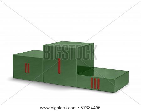 Green nephrite sports victory podium with red Roman numerals isolated on white background poster