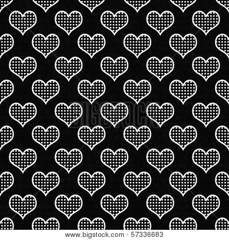 Black and White Polka Dot Hearts Pattern Repeat Background that is seamless and repeats poster