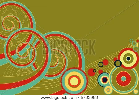 Funky retro background of multi-colored spirals and colors. poster