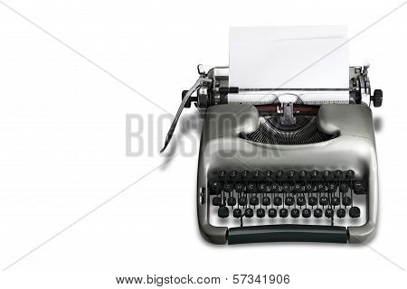 Antique Typewriter white background