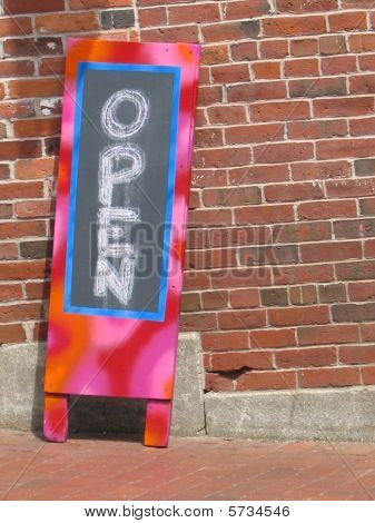 Colorful Open Cafe Sign