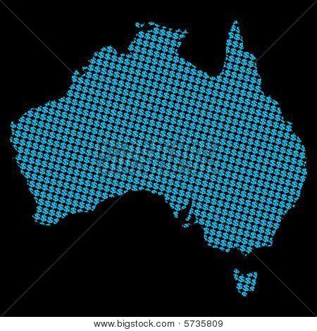 Australia Map With Dollar Symbols