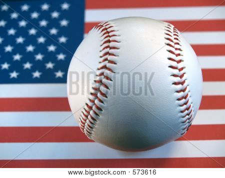 Baseball On US Flag