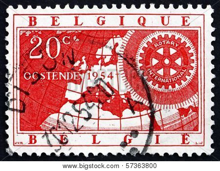 Postage Stamp Belgium 1954 Map And Rotary Emblem