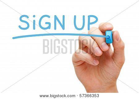 Sign Up Blue Marker