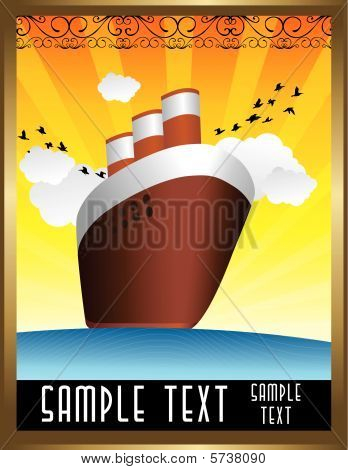 art deco boat vector