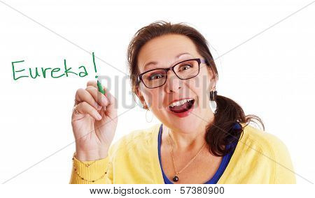 Woman with glasses having a Eureka big and bright idea moment! poster