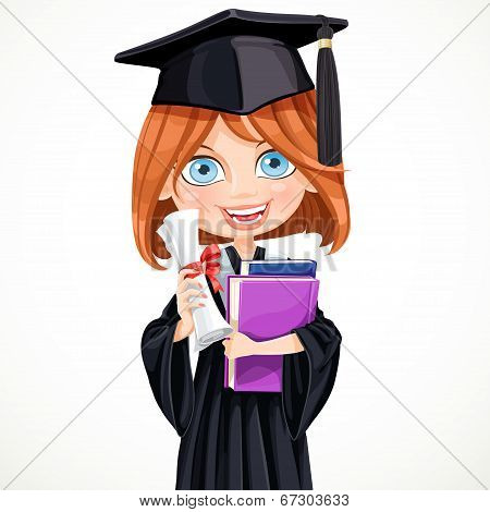 Girl In Cap Holding A Scroll Diploma