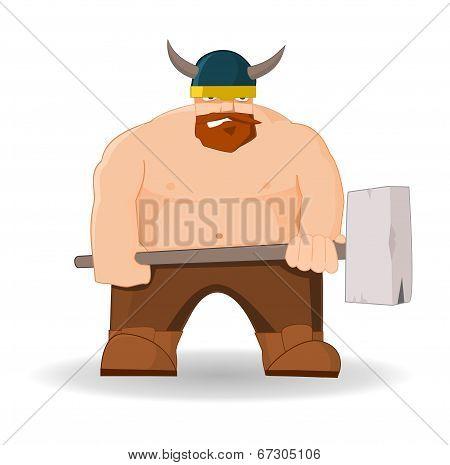 Cartoon viking with hammer