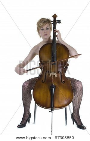Blonde Woman Sitting With Cello