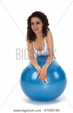 Young Woman With Pilates Ball