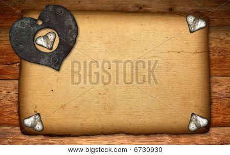 Old Paper On Brown Wood Texture With Hearts