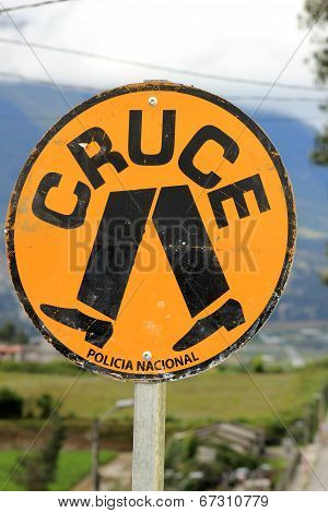 Spanish Cross Walk Sign