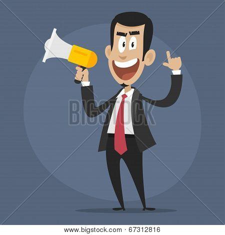 Character businessman disgruntled speaks in megaphone