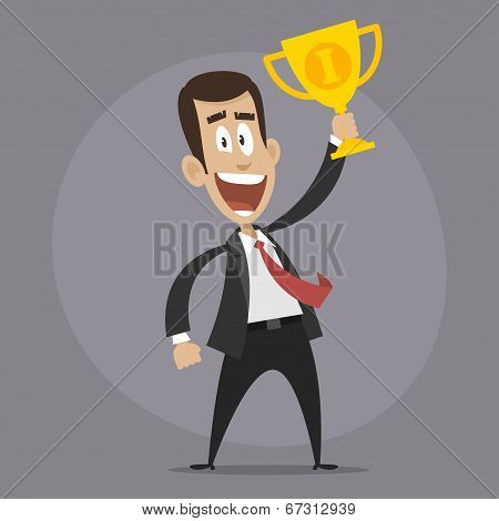 Character businessman winner holds cup