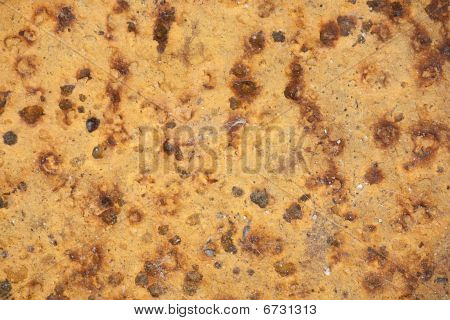 Yellow Pitted Metal Background