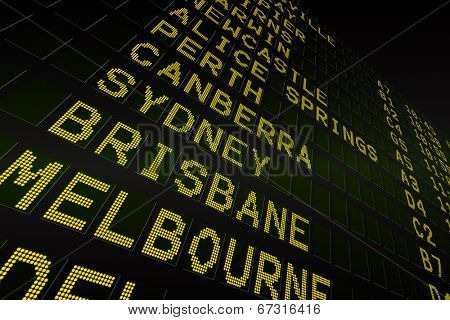 Digitally generated black airport departures board for australia poster