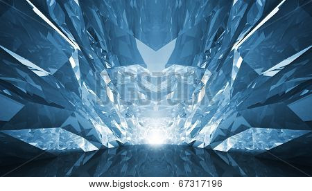 Abstract 3D Background. Crystal Corridor With Rugged Walls And Glowing End