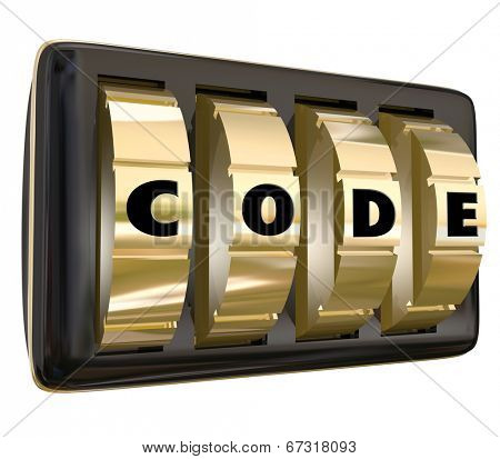 Code word in letters on a set of dials on a lock to illustrate confidential, restricted access