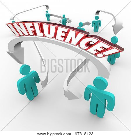 Influence word on arrows connecting people in a targeted group for marketing