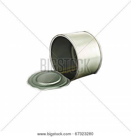 Opened Tincan Ribbed Metal Tin Can, Canned Food
