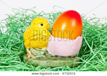 Easter Egg With A Chicken