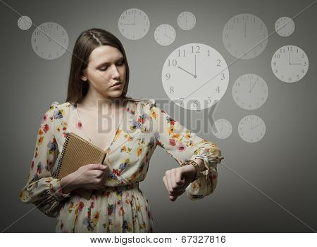 Young Woman And Wristwatch. 10 P.m.