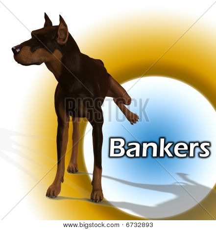 A dog cocking its leg on a bankers sign. poster
