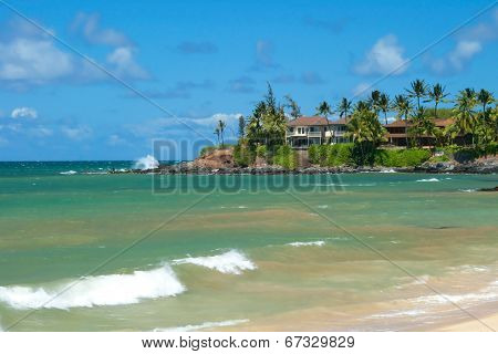 Luxury House On Untouched Sandy Beach With Palms Trees And Azure Ocean In Background Panorama