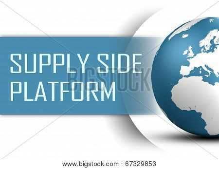 Supply Side Platform concept with globe on white background poster