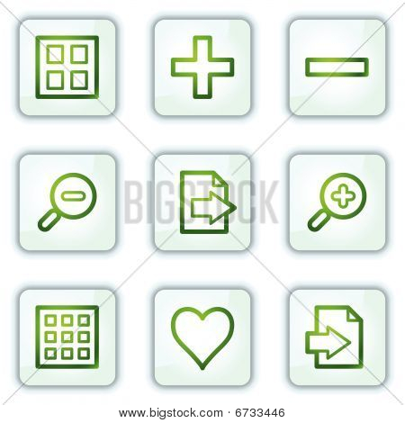 Image viewer web icons, white square buttons series