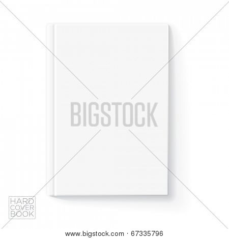 Hard cover vertical book design template. Vector detailed illustration.
