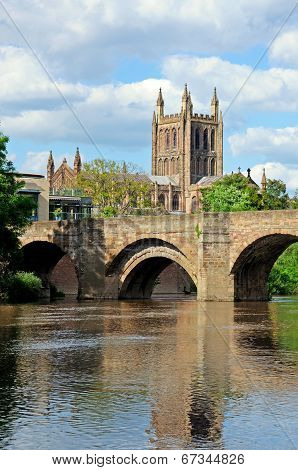 River Wye and Cathedral, Hereford.