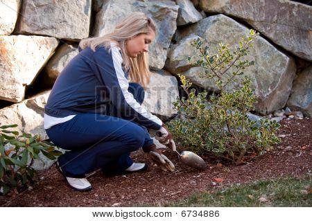 Girl At Garden