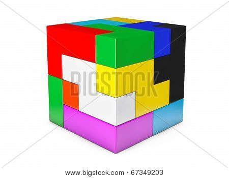 Multicolour Cube Brain Teaser Game