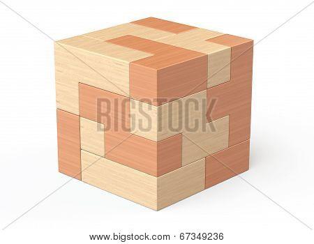 Wooden Cube Brain Teaser Game