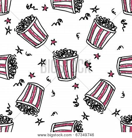 Seamless pattern with doodle pop corn backets
