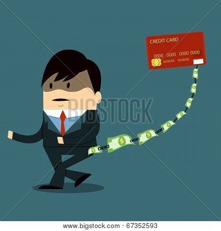 vector character - Large debt the credit card poster
