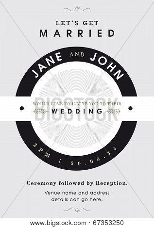 Wedding invitation black and grey theme