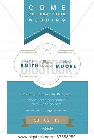 Wedding invitation blue ribbon theme