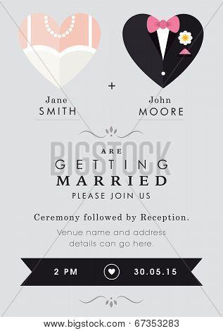 Wedding invitation heart theme