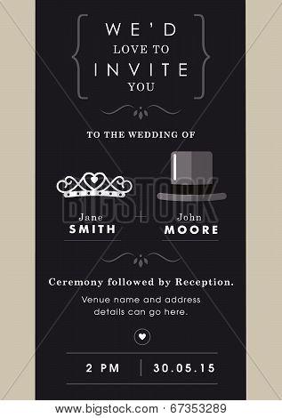Wedding invitation mr and mrs theme