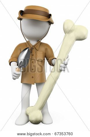 3D White People. Archaeologist With Dinosaur Bone