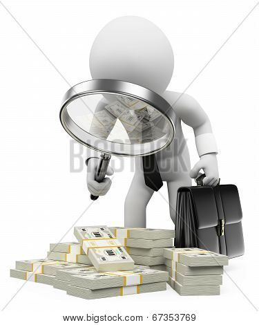 3D White People. Tax Inspector With Magnifying Glass