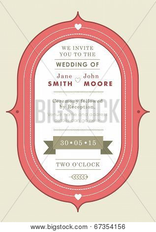 Wedding invitation red badge theme